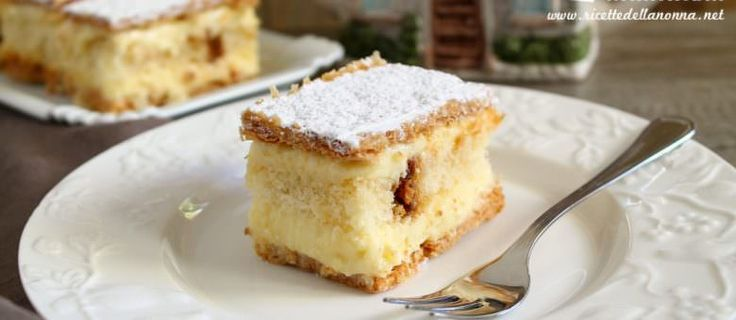 La millefoglie è un dolce tipico francese composto da strati di pasta sfoglia (a volte di pan di Spagna), intervallati da una deliziosa crema pasticciera. La millefoglie è la classica torta di compleanno.