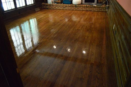 DEFINITELY do this before moving in a house with hardwood floors! just scrubbing and resealing