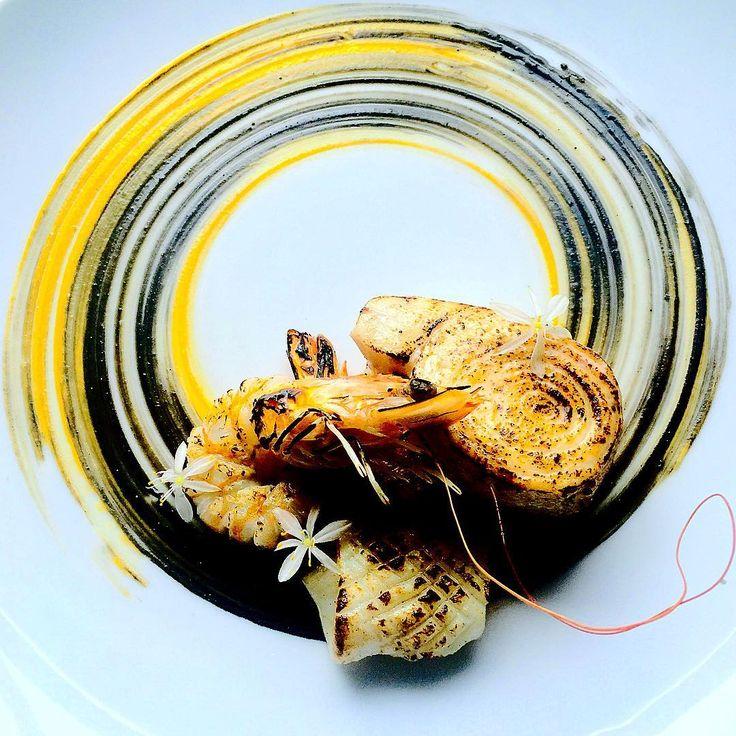 Sweet potato/sour cream/squid ink