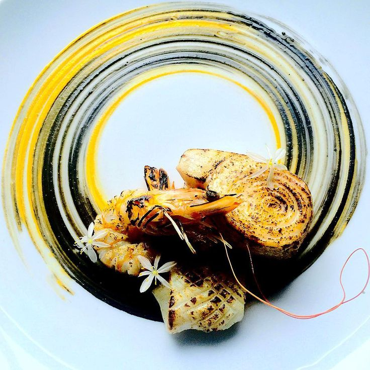 Sweet potato/sour cream/squid ink