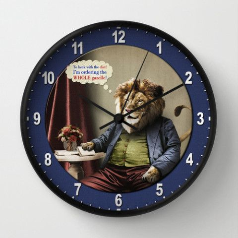#society6 #wallclock #time #home #decor #dorm #lion #diets #cats #animals #food #vintage #surreal #antique #gazelle #petergross