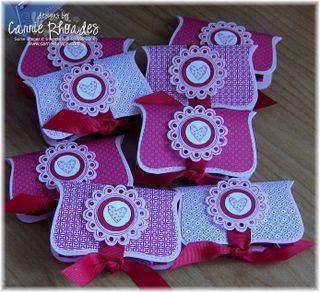 """These little packages have a square of chocolate glued (with dots) inside and """"thank you"""" stamped on the inside cover.  When I learn how to use my #Cricut I'll make some of these!  #crafts"""