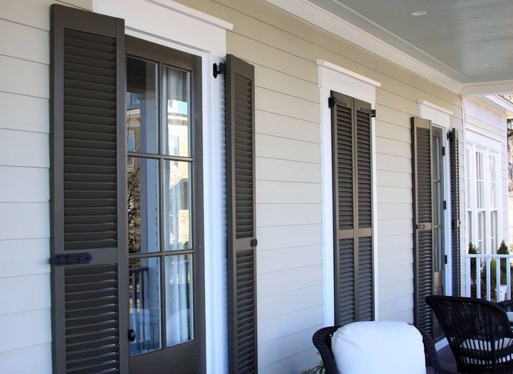 143 best images about front door shutter on pinterest cottage living southern porches and for Exterior louvered window shutters