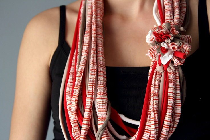 Spring SCARF NECKLACE in red, white and light brown, handmade. $15.00, via Etsy.