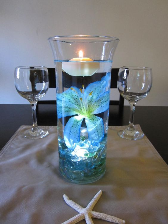 Ocean Blue Tiger Lily Wedding CenterPiece: can make my own instead of buying it.