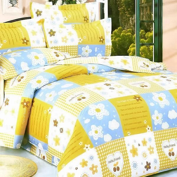 [Yellow Countryside] 100% Cotton 5PC Comforter Set (Queen Size)