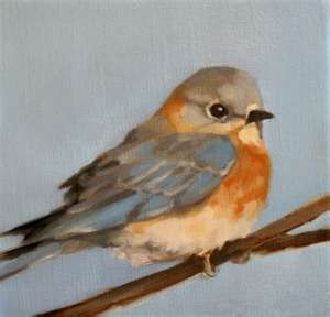 Bird Painting. Simple, beautiful, interesting. Neutral background really works with this. Tinge of blue on the wings a good combo.