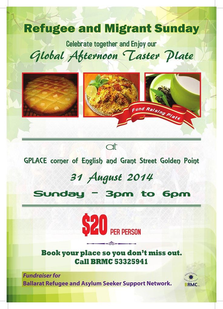 2014 is the 100th celebration of Refugee and Migrant Sunday. Join us for a Delicious Global Afternoon Taster Plate next Sunday, 31st of August at GPLACE in Ballarat. We are fundraising for Ballarat Refugee and Asylum Seeker Support Network. Give us a call and book your place.ph 53325941