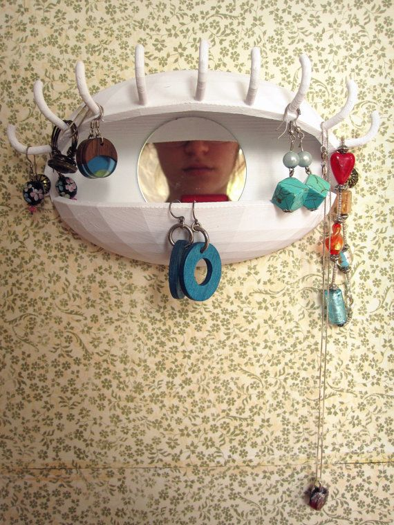 Eye Spy Jewelry Holder and Makeup Organizer with Mirror by Untimed, $65.00   SOO awesome, none of your roommates will have one of these!