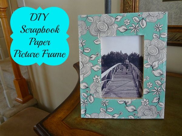 DIY Scrapbook Paper Picture Frame #craft via www.jmanandmillerbug.com
