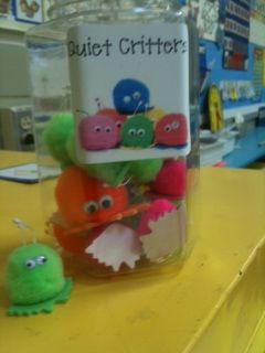 "I felt like this class needed a bit of an extra incentive, and since we are working so hard on using quiet voices in the classroom, I made us a jar for ""quiet critters"" and whenever the students are working quietly, cleaning up quietly, walking in the hall quietly, etc. we can earn them. So far it is working and the kids are very excited about earning ""quiet critters"" (they are actually just some pom-pom critters I happened to have lying around, but I told the kids they only come out when it…"