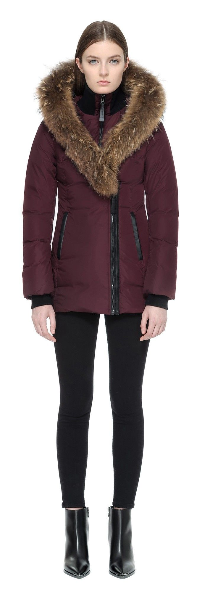 ADALI FITTED WINTER DOWN COAT WITH FUR HOOD IN BORDEAUX