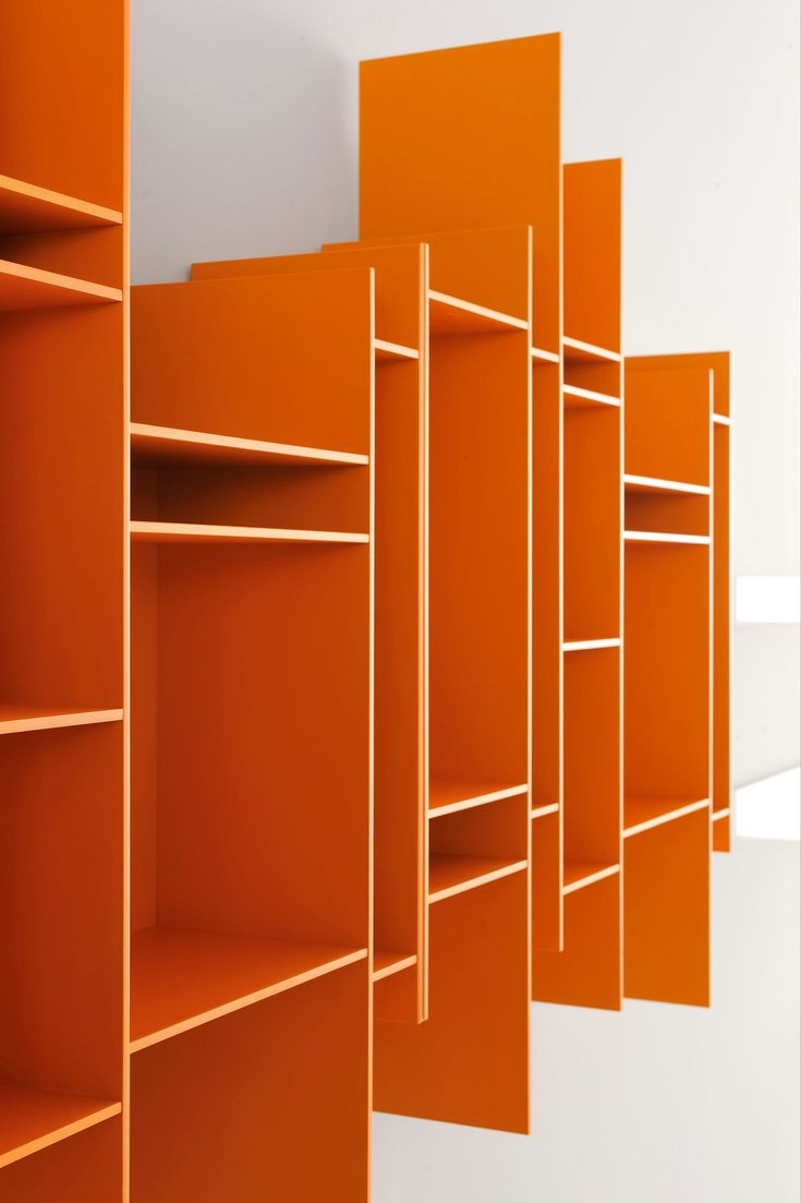 Open wall-mounted MDF #bookcase RANDOMITO - MDF Italia #orange