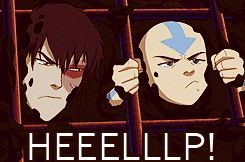 """(gif) """"HEEEELP!"""" """"Who are you yelling for?! nobody's lived here for centuries!"""" Lol Aang :)"""