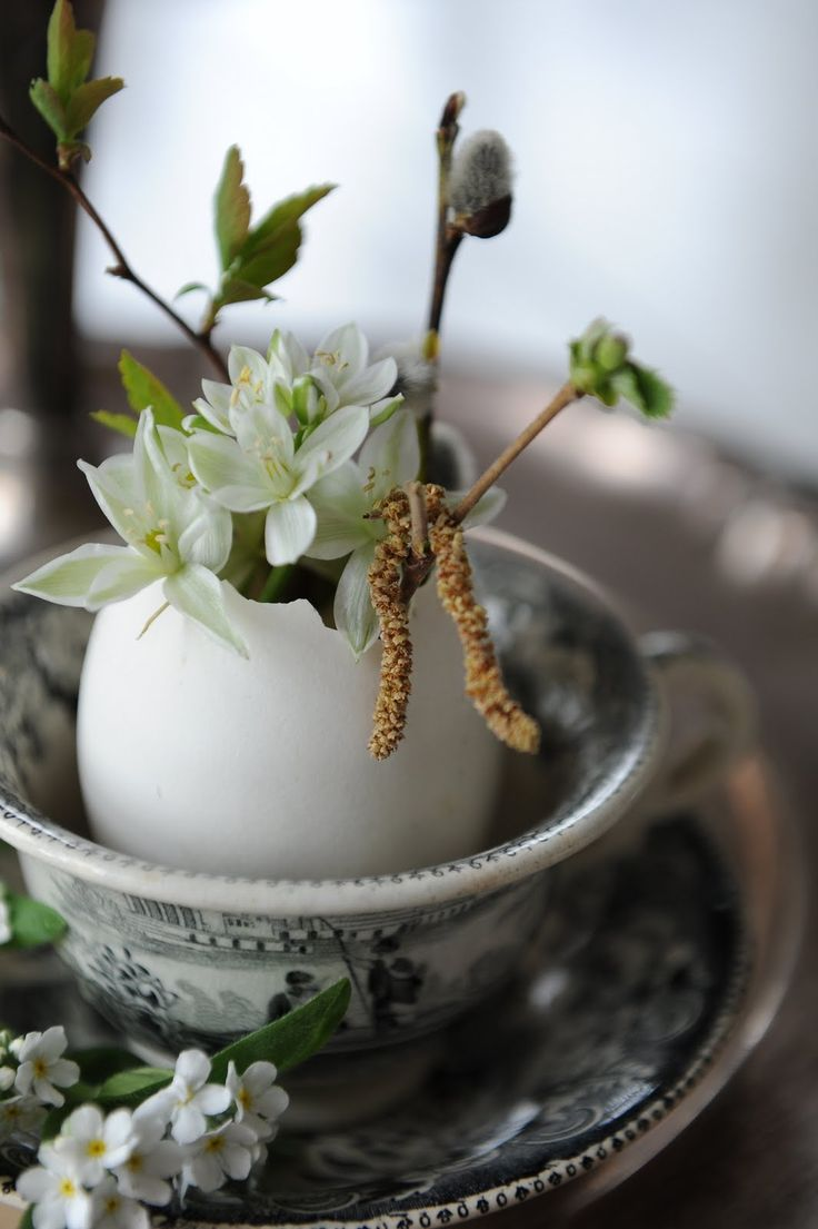 Simply wonderful Spring/Easter inspiration! Keep egg shells and place plants and or flowers in them