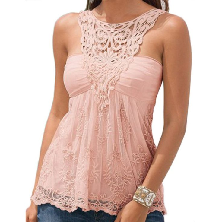 [$9.16] Summer Sexy Women Camisole Sleeveless Vest Tank Tee Backless Lace Tops Plus Size