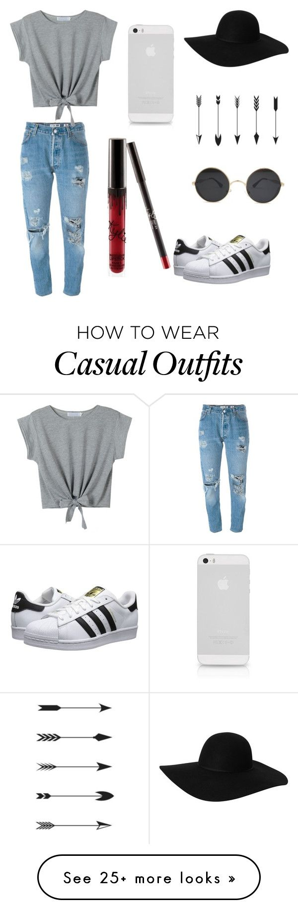 Casual by emibruno on Polyvore featuring Levis, Monki, WithChic, adidas Originals, cool and women
