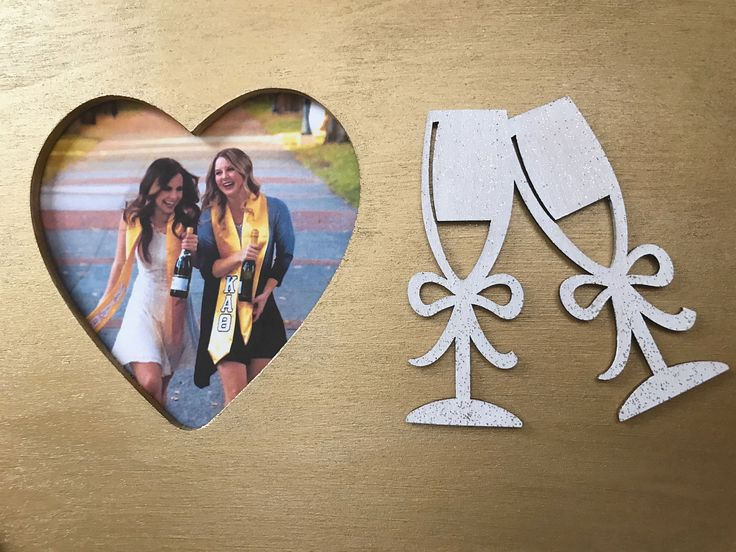 Gold champagne cheers wooden heart picture frame in metallic gold paint - 21st birthday gift - party decor - sorority sister present by JuneSixth on Etsy