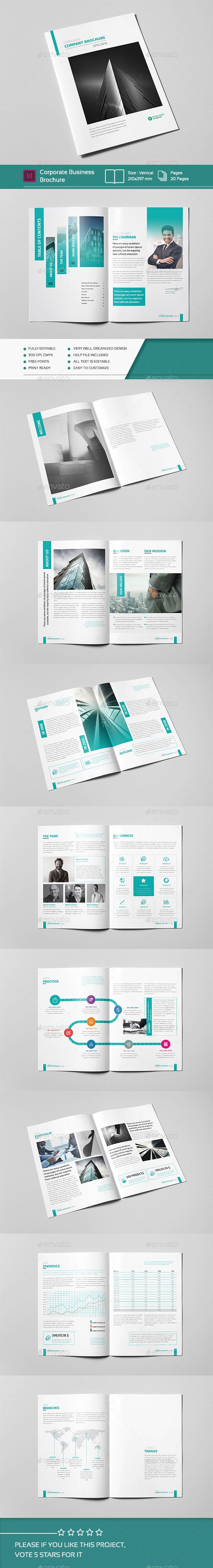 Corporate Business Brochure 20 Pages A4 Template InDesign INDD. Download here: http://graphicriver.net/item/corporate-business-brochure-20-pages-a4/14636125?ref=ksioks