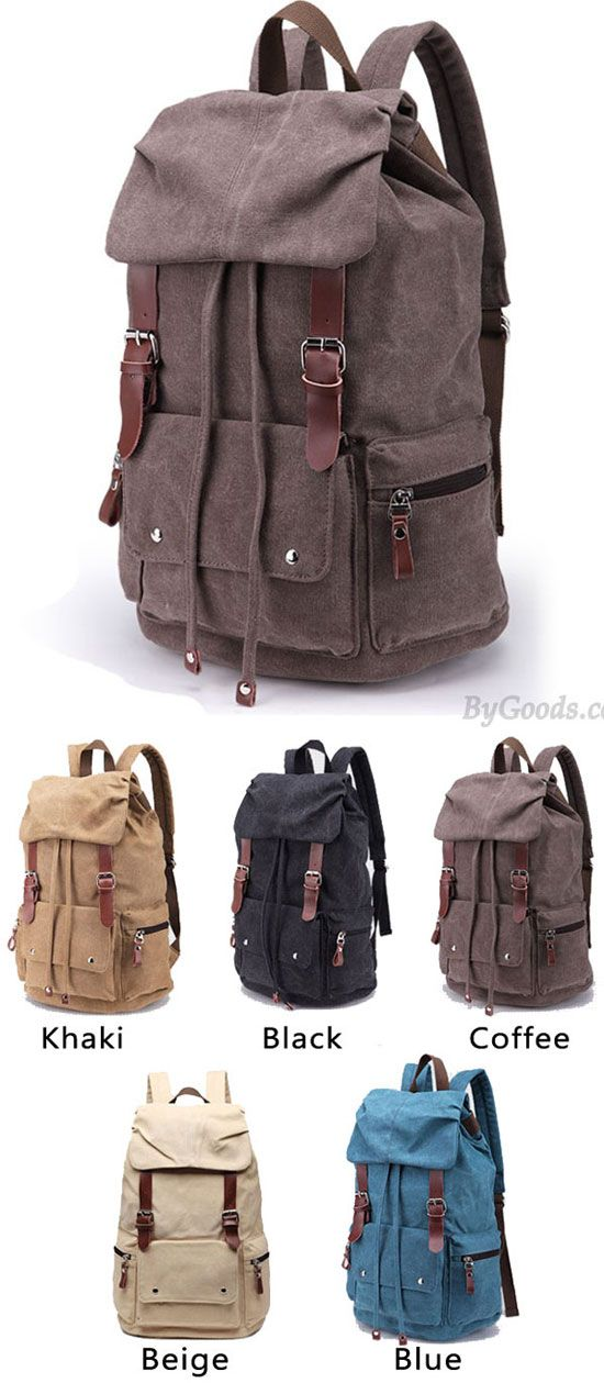Which color do you like? Retro Large Laptop Rucksack Travel School Bag Travel Bags Thick Canvas Backpack #retro #backpack #school #Bag #travel #camping #fashion