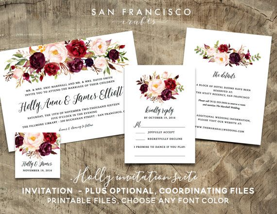 PRINTABLE Wedding Invitation Suite - YOU CHOOSE the printables - Holly Collection - Digital Files  Guests will be delighted when they receive this Wedding Invitation! Gorgeous, watercolor roses adorn this invitation in beautiful shades of red and pink. You can completely customize the wording in this invitation for your celebration - I am happy to change the font color! This listing is for DIGITAL FILES only. You will not receive any printed invitations. With the information you provide, I…