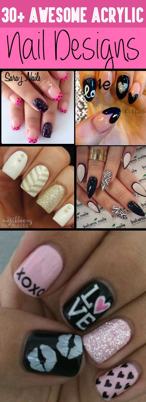 30+ Awesome Acrylic Nail Designs You'll Want To Copy Immediately Acrylic nail designs are all the rage these days and with good reason. In order to add a little something extra to your overall look, investing time in finding a perfect nail design that suits your personality is a worthwhile endeavour. In this article we look at some of the nail designs that you could consider: