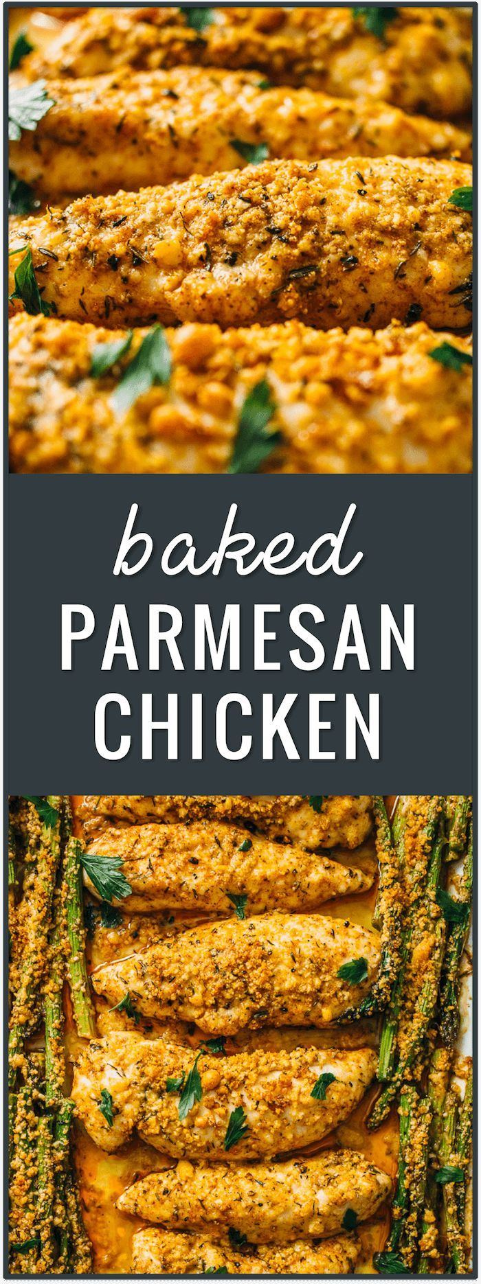 baked parmesan chicken, asparagus, roasted chicken tenders, recipe, easy, dinner, bake, fast, healthy, parmesan crusted, no breading, lunch, vegetables via @savory_tooth