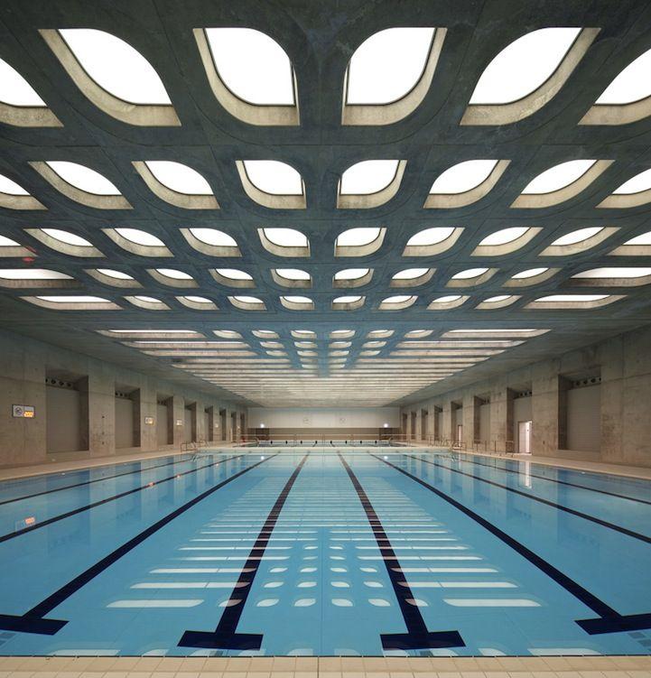Aquatics Centre for 2012 London Olympics * Warm-up pool (I love the ceiling)