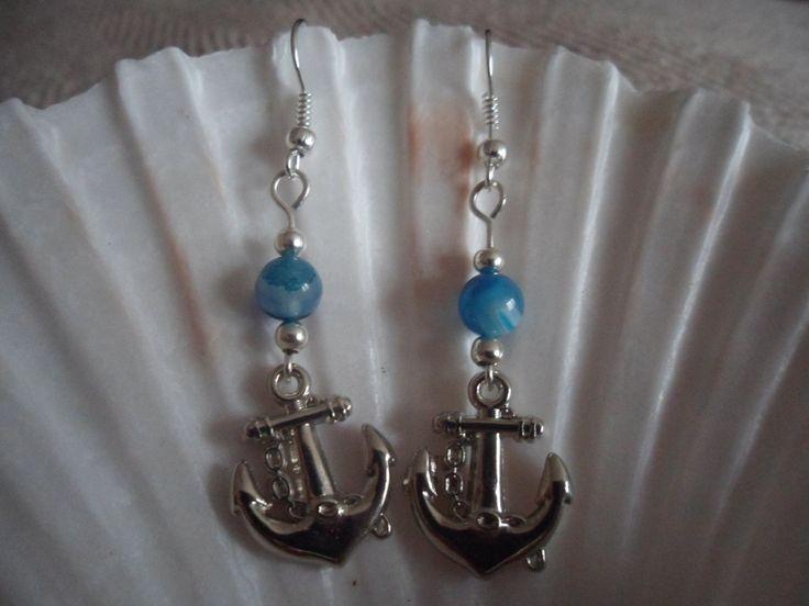 Natural Striped Blue Agate semi precious gemstone bead & Anchor charm Nautical theme Dangle Earrings. Beach/nautical wedding jewellery. by HazelsWeddingShop on Etsy