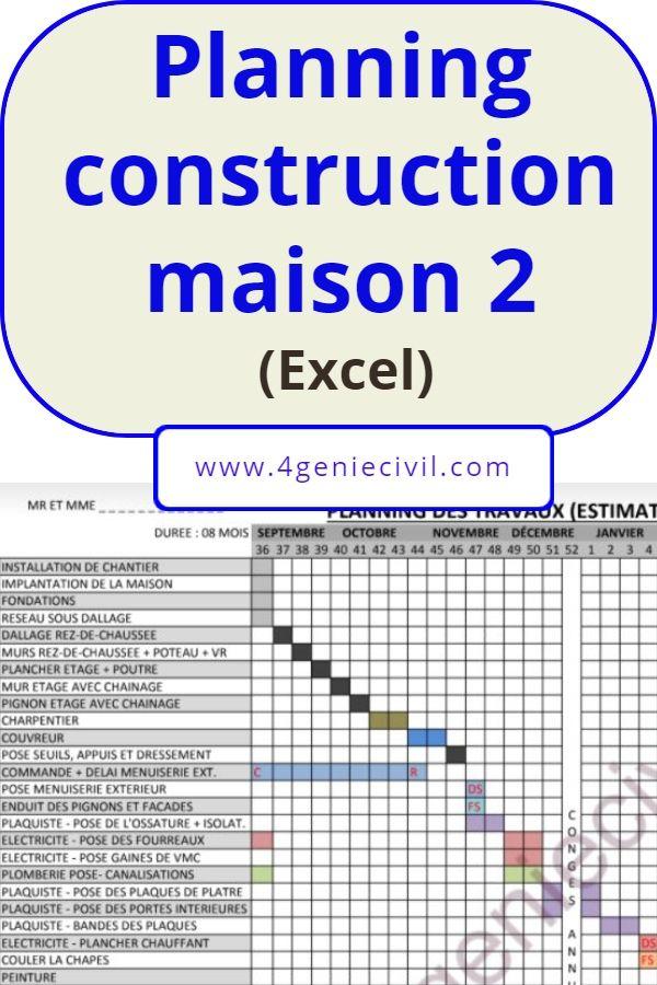 Planning Construction Maison Excel 2 Construction Maison Maison Individuelle Construction