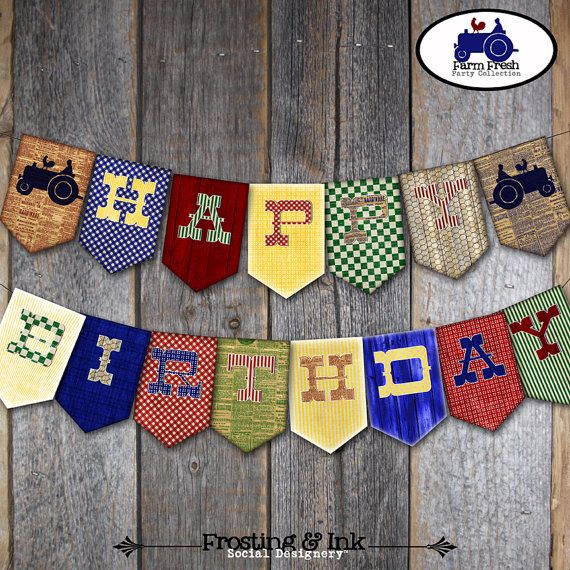 Farm Party - Bunting Banner - Barnyard Birthday Party Banner  -  Printable (Tractor, Farm Animal, Barn, Vintage)
