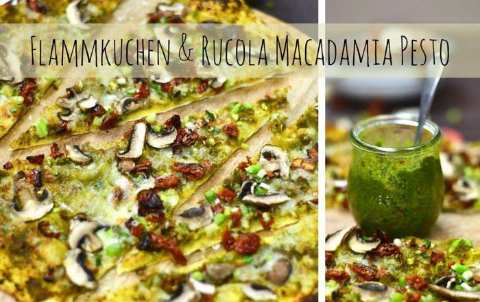 Knuspriger Flammkuchenteig ohne Hefe mit grüner, würziger Pesto herzhaft, vegetarisch belegt.