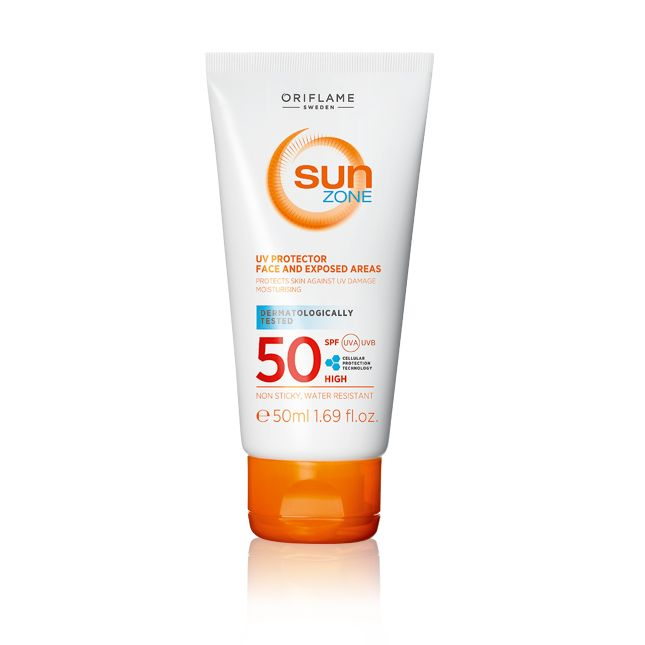 Oriflame Sun Zone UV Protector Face and Exposed Areas SPF 50 High (23378) - Effective high protection for sun-sensitive skin. Formulated with softening and moisturising actives. Fast-absorbing texture. Water-resistant. 50 ml.