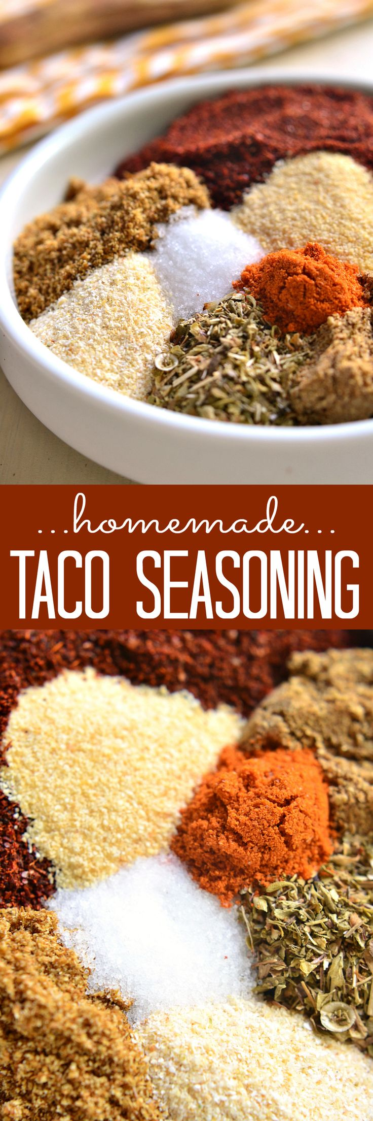 Homemade Taco Seasoning - made with just 8 simple ingredients and ready in no time at all! Take your tacos to the next level with this delicious homemade twist!