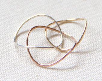 Drie 14 k gouden Tricolor Stack ringen massief 14k door MARYJOHN