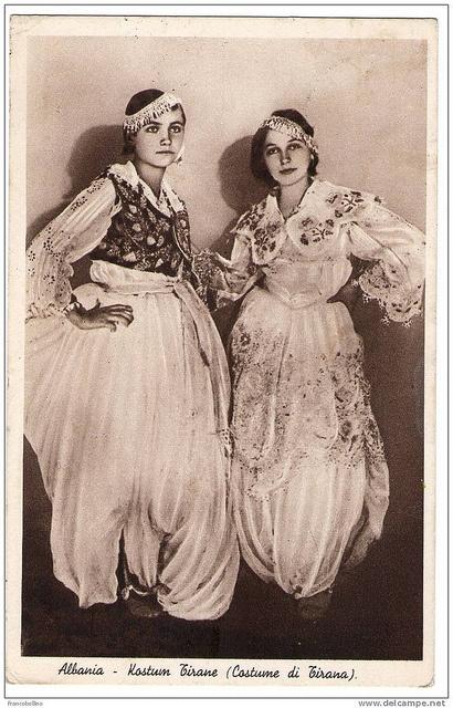 Tiranase. Jeunes filles en costume local, Tirana. Young Tiranian girls. Jovenes albanesas de Tirana. Joves albanesas de Tirana. by Only Tradition