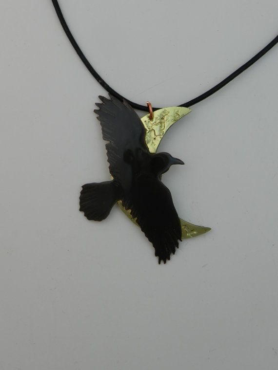 Crow Pendant Raven Necklace Crow Jewelry Moon Necklace