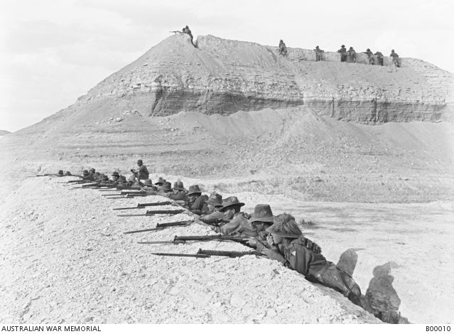 Side view of men of the 5th Australian Light Horse Brigade, on alert, in a section of the bridgehead. This bridgehead, established on the eastern side of the Jordan after the first Amman raid, was retained throughout the summer of 1918. The Turks suffered severely in an attempt to capture it by night from the 1st Light Horse Brigade in April 1918.Ottoman Empire: Transjordan, Ghoraniyeh, April 1918...