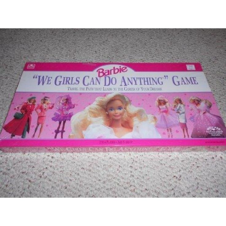 1991 We Girls Can Do Anything Barbie Doll Game  What would you like to be when you grow up?A glamorous actress, a gradeful ballerina, an out-of-this-world pilot? Choose a career, then follow the path that leads to success. As you work your way toward your goal you may experience occasional setbacks, but don t be discouraged. The first player to fulfill her dream of an exciting career wins the game.