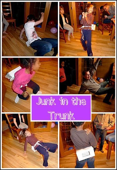 Junk in the Trunk Minute to Win It Game.... Strap a Kleenex box full of ping pong balls to the person's waist and they have to shake the ping pongs out