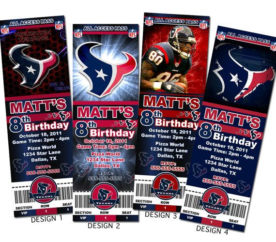 Houston Texans NFL Custom Party Ticket Invitations by KVinvites, $8.99