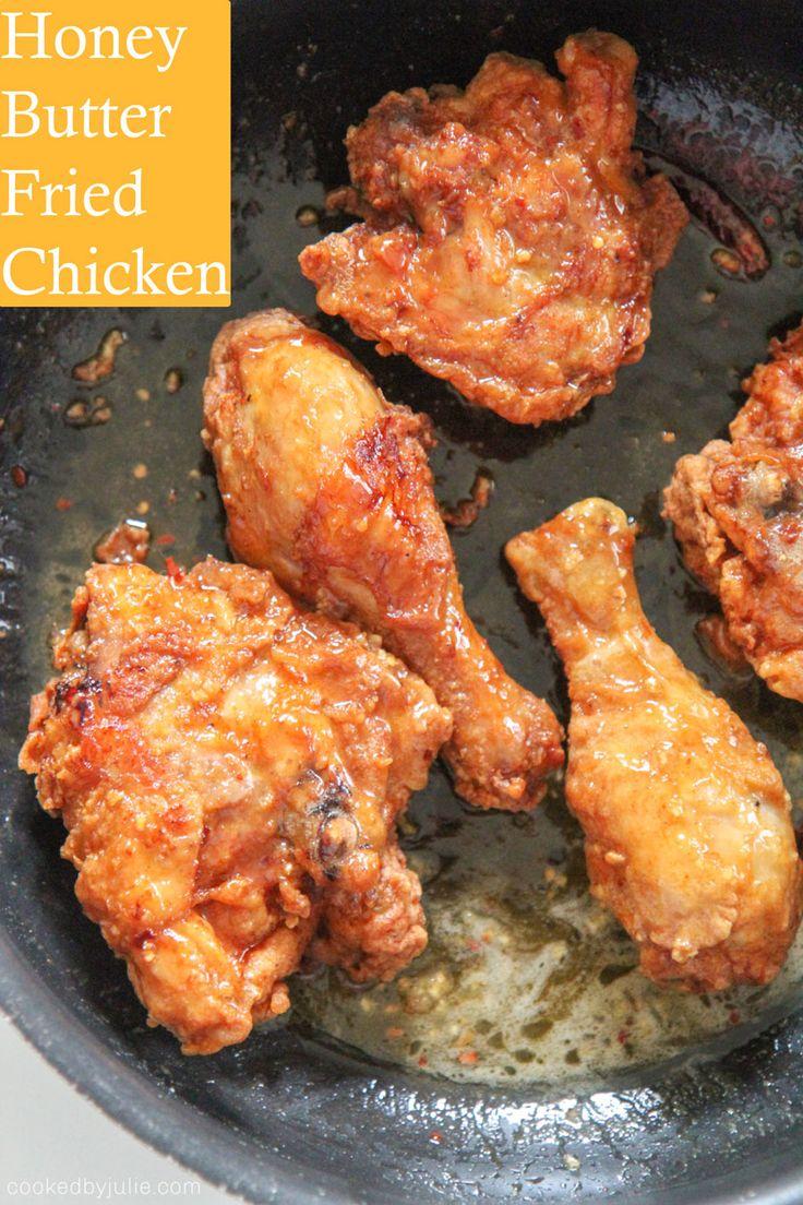 Bonein fried chicken tossed in a honey butter sauce.