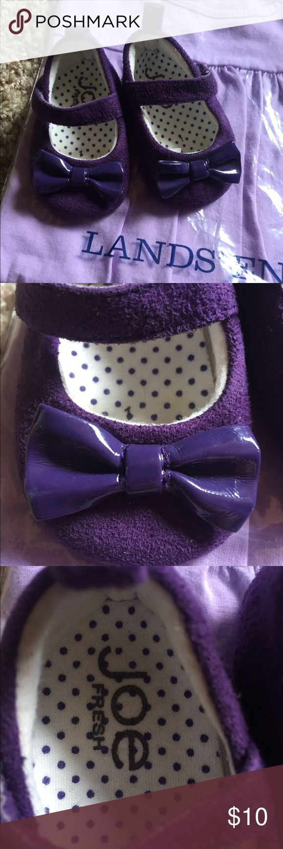 Little purple shoes🎀 So adorable little purple shoes😍put your little girl in these she'll love them forever! Velcro strap for easy on/off and the cutest bow!! EUC!!! They were hardly worn, they grow too fast! Lol Joe Browns Shoes Baby & Walker