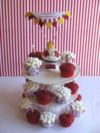 Carnival Cupcakes for a dessert table