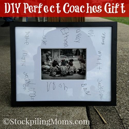 DIY Perfect Coaches Gift that cost less than $20!  This would be perfect for any coach!  It would also make a neat keepsake at your baseball, football or basketball banquet or party. Just have each guest sign as they enter.
