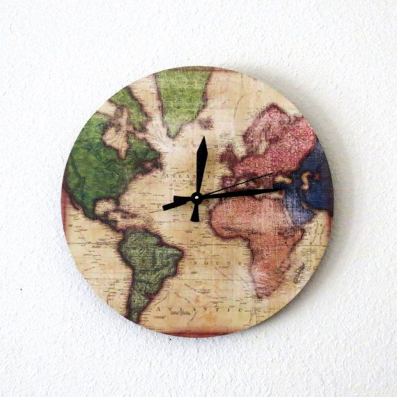 Map Wall Clock Decor and Housewares  Home Decor by Shannybeebo, $39.75Decor Wall, Beautiful Clocks, Gift Ideas, Maps Wall Libraries, Future House, World Maps, Wall Clocks Decor, Clocks Time, Unique Clocks