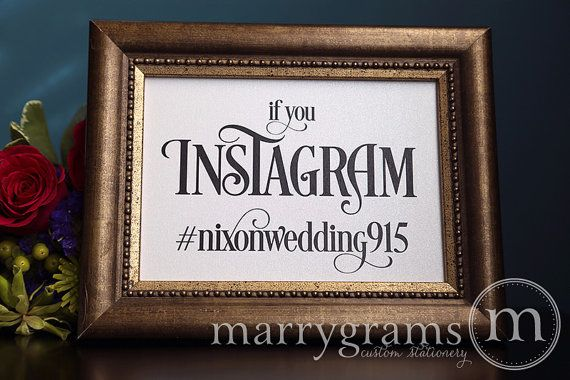 Wedding Reception Instagram Sign - Photo Sharing Social Media Wedding Sign - #tag Hashtag Sign - Matching Table Numbers Available - SS06