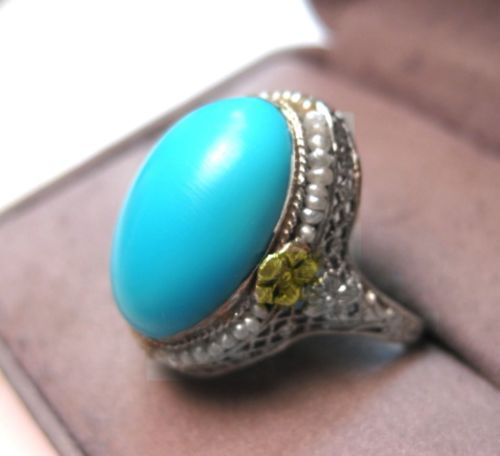 STUNNING-ANTIQUE-14K-GOLD-FILIGREE-BIG-SLEEPING-BEAUTY-TURQUOISE-SEED-PEARL-RING
