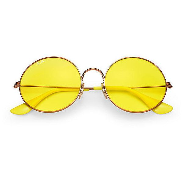 Ray-Ban Ja-Jo Copper Sunglasses, Yellow Lenses - Rb3592 ($165) ❤ liked on Polyvore featuring accessories, eyewear, sunglasses, copper glasses, ray ban sunglasses, ray ban sunnies, lens sunglasses and yellow lens sunglasses