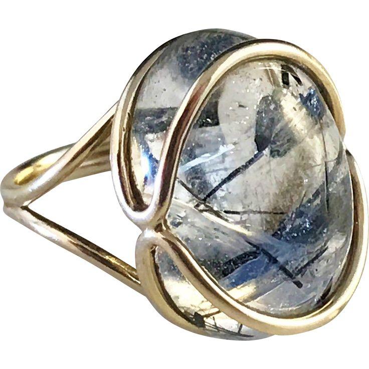 Modernist 14k Gold Rutilated Quartz Ring. Scandinavia 1960s. 7.0gram